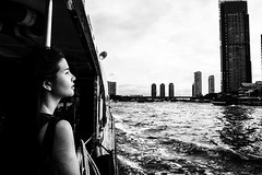 bangkok (Roberto.Trombetta) Tags: camera trip travel cruise vacation blackandwhite bw woman white black building cute water girl beautiful skyscraper canon silver river hair landscape thailand sadness boat amazing asia loneliness ride heart bangkok dream earring dramatic wave happiness pinhole nostalgia thai thinking stunning lonely passenger melancholy chao shape miss tiffany chaopraya navigation praya thep 6d asiasociety pensiveness krung canon6d