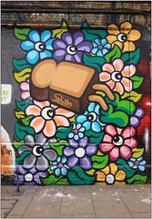 East End Street Art (Mabacam) Tags: streetart london wall daisies graffiti stencil mural character toast wallart urbanart shoreditch freehand publicart aerosolart spraycanart stencilling eastend 2016 urbanwall