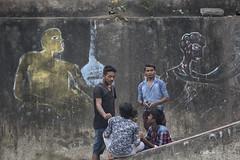 Graffiti (pathikdebmallik) Tags: street india wall painting graffiti moss streetlife images kolkata calcutta gossip adda streetphotographs streetsofkolkata