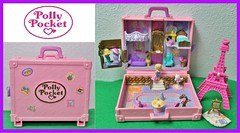 Polly Pocket TRAVEL PARIS (Big-Eyed) Tags: travel vacation people paris vintage toys miniature doll dolls box small casket mini luggage collection shape nineties playset pollypocket parigi playsets cofanetto