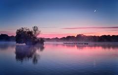 Avalon Moon (Langstone Joe) Tags: mist lake sunrise dawn hampshire avalon bronzeage crescentmoon petersfieldheathpond