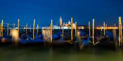 Blue hour over Venice lagoon (hjuengst) Tags: longexposure italien blue venice italy panorama lagune water wasser lagoon gondola bluehour venedig unescoworldheritage sanmarco gondel sangiorgiomaggiore langzeitbelichtung blauestunde goldcollection