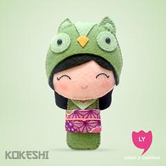 3865 (lycoisasecoisinhas) Tags: verde green happy liberdade felt lucky owl coruja japo boneca kokeshi sorte lycoisasecoisinhas