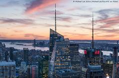 Super Sunset Colors (DSC01503-Pano) (Michael.Lee.Pics.NYC) Tags: sunset panorama newyork nikon jerseycity cityscape sony aerial observatory hudsonriver statueofliberty topoftherock bankofamericatower 4timessquare nikkor85mmaf18 a7rm2