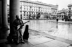 riff (G e e n o) Tags: street blackandwhite bw white black nikon strada milano streetphotography bn musica piazza duomo chitarra blackandwhitephotography elettrica d90 18105mm