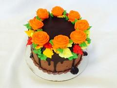 Floral Thanksgiving Cake (tasteoflovebakery) Tags: thanksgiving flowers red orange yellow cake chocolate ganache