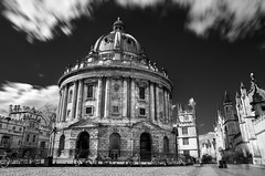 The Radcliffe Camera (Willers1404) Tags: old city red white black blur building monochrome architecture long exposure 10 library bikes stop filter oxford nd fancy infra hoya