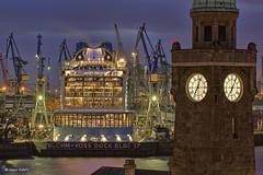 Blohm & Voss Dock Elbe 17 - 19031603 (Klaus Kehrls) Tags: hamburg hafen landungsbrcken industrie elbe nachtfotografie flsse blohmvoss dockelbe17 ovationoftheseas