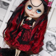 Red and black alpaca Reroot for a special collaboration girl with GBaby ❤️💀