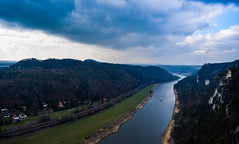 Elbe Kisses the Sky (Explored) (leninscape) Tags: travel blue mountain nature water clouds river germany landscape dresden europe village hiking elbe watercourse rathen kurort