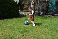 Soffi's on the ball! (pwllgwyngyll) Tags: old boy liverpool ball football goal five year supporter strike welsh practice footy striker fiveyearold jac anfield lfc liverpoolfc soffis yearold at