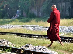 Yangon - I go my own way (sharko333) Tags: voyage street people man asia asien track yangon burma monk olympus railwaystation myanmar asie birma reise rangoon e5 tavel