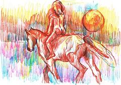 EN BUSCA DEL NUEVO MUNDO (GARGABLE) Tags: horses sol nude caballo fantasia horizonte apuntes nuevomundo lpicesdecolores uskspain gargable angelbeltrn