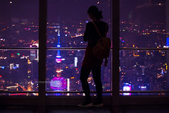 """Top of the city. (¡arturii!) Tags: china city trip travel people urban woman colors girl beauty silhouette night wow dark lights amazing cool nice interesting media holidays asia technology tour purple shanghai bright superb top awesome great sightseeing social tourists route smartphone stunning viatge visiting viewpoint vacations addiction impressive futuristic gettyimages ilumination orientalpearltower arturii arturdebattk """"canonoes6d"""""""