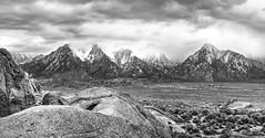 Shrouded Sierra Nevada (Appalachian Hiker) Tags: california bw cloud storm mountains rain sandstone desert sierranevada alabamahills