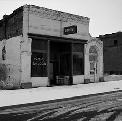 Oakesdale, Washington (austin granger) Tags: snow film square washington time decay tracks sidewalk memory drugs storefront impermanence evidence saloon palouse oakesdale gf670 austingranger