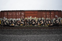 KINGS NEVER DIE (TheGraffitiHunters) Tags: street orange white black never green art car train graffiti big colorful paint die box tracks spray kings covered boxcar freight benched benching