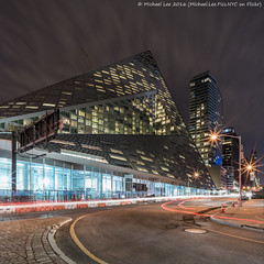 VIA 57WEST (DSC04695) (Michael.Lee.Pics.NYC) Tags: longexposure newyork architecture night square construction pyramid sony 12thavenue 57thstreet lighttrail traffictrail voigtlanderheliar15mmf45 bjarkeingelsgroup a7rm2 via57west