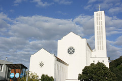 White on blue (Karen Pincott) Tags: blue autumn newzealand sky white church architecture cathedral earlymorning belltower napier hawkesbay stjohnsanglicancathedral