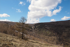 (Clouds) (Kirill & K) Tags: blue sky mountains tree nature clouds forest waterfall spring sunny larch       bashkiria     gadelsha