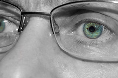 117/365 Bright eyes (NSJW photos) Tags: blue green me glasses eyes april flecks 117 selfie selectivecolour 2016 colourpop 117365 365selfies nsjwphotos 1173652016