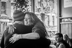 """It's so great to see you!"" (John St John Photography) Tags: newyorkcity people blackandwhite bw woman eastvillage newyork man happy restaurant hug streetphotography indoor embrace ukrainian veselka candidphotography e9thstreet peopleofnewyork"
