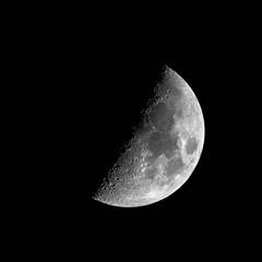 First Quarter Moon (CJH Natural) Tags: sky moon white black night dark grey nikon gray first telephoto sphere crater quarter terminator tamron lunar supertelephoto 600mm 150600mm d7200