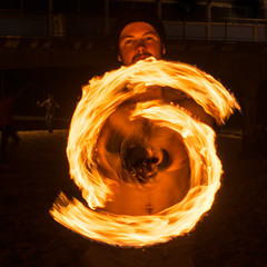 (Attila Pasek) Tags: show portrait night fire free poi attraction firepoi longexposuretime boscombepier firejam logibenedictson