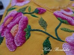 KikaBordados Kika  Krauss 098 (Kika Bordados by Angelica Krauss) Tags: pink flowers flores handmade embroidery laranja crochet tshirt amarelo bordados manualidades croche embroider feitomo camisetabordada camisetabordadamo bordadosfeitomo kikabordadoskikakrauss