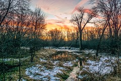 Down in the Valley (Doug Wallick) Tags: morning snow reflection water minnesota sunrise river colorful valley bloomington