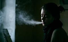 (Calming Potion) Tags: portrait color green girl haze shisha smoke hookah