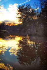 From Time To Time (dorameulman) Tags: sunset lake clouds reflections landscape us poem northcarolina gastonia heatherlock dorameulman matsuebasho