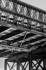 Old Fore River Bridge (alohadave) Tags: bridge sky night effects blackwhite unitedstates massachusetts overcast places rainy infrastructure northamerica weymouth foreriverbridge northweymouth smcpda55300mmf458ed pentaxk5