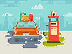 Refuel Car at Gas Station (Travel) (hypesol) Tags: city travel brown abstract building window car station wheel sign retail illustration outdoors design flat icon drop luggage gas transportation oil vehicle service petrol concept gasoline suitcase vector fuel petroleum