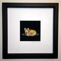 Custom Beaded Mini Dog Portrait Framed Bead Embroidery Whimsical Animal Art- 8x8 shadowbox (The Lone Beader) Tags: art beads artwork husky frame etsy beading beaded beadwork petportrait sterlingsilver seedbeads akcshowdog amazonhandmade