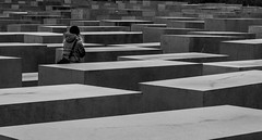 Remember (- Charly Prati -) Tags: world travel white black berlin girl monochrome look lines composition germany square person grey holocaust stand memorial war europe remember respect traveling stunnig
