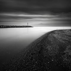 Shoreline (ilias varelas) Tags: longexposure light sea sky seascape water monochrome landscape mono exposure mood shoreline atmosphere greece nd seafront ilias varelas