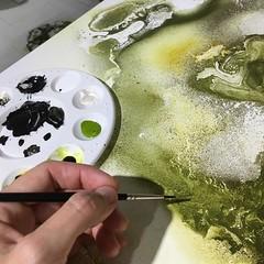 Artwork in progress... i love the green shades    www.rikkedarling.dk (Rikke Darling) Tags: modern painting design abstractart colorfull interior kunst fineart moderne abstrakt maleri colourfull malerier galleri abstrakte salg bioart kb kunstgalleri farverigt