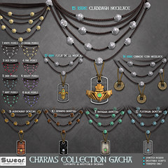 L&B L&B SWEAR CHARMS COLLECTION GACHA LIST (Lapointe & Bastchild) Tags: irish dog fleur leather french cord necklace coin tag chinese luck pearl celtic fleurdelis multi collectable claddagh draped dogtag gacha lapointe transferable bastchild