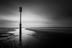 Horsey Beach 10/04/2016 (Matthew Dartford) Tags: ocean sea blackandwhite bw reflection beach monochrome backlight contrast puddle mono coast sand coastal backlit defences horsey eastanglia groynes happisburgh leadinglines