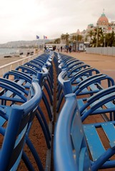 Chaise bleue neuf (zawtowers) Tags: blue vacation holiday france french hotel nice riviera break dof looking chairs down des le promenade april straight iconic chaise feature negresco anglais 2016 beleue