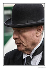 The Bowler (Seven_Wishes) Tags: uk portrait england man black hat candid tie suit bow bowlerhat mole bowler reenactor newcastleupontyne tanfield tyneandwear jdo edoliver photoborder canonef70200mmf28lisii 7wishes canoneos5dmark3 newcastleupontynenortheast 7wishesphotography