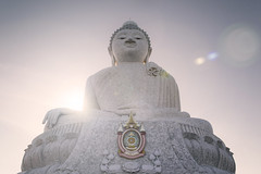 Big Buddha (tylerkingphotography) Tags: travel sunset sky white lens thailand photography big nikon southeastasia photographer outdoor buddha kingdom explore backpacking thai flare kit 1855mm traveling phuket amateur andamansea mueang nakkerdhills phraputtamingmongkolakenakkiri d3100