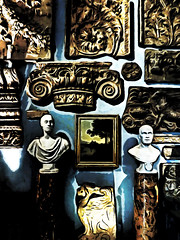 The Treasure Trove (Steve Taylor (Photography)) Tags: uk greatbritain blue shadow england sculpture brown white black london art stone museum architecture painting artwork unitedkingdom picture carving bust va gb victoriaandalbert