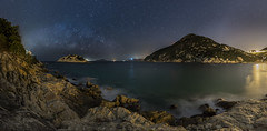 Shek O Night Pano (Bun Lee) Tags: ocean longexposure sea mountains beach nature water night stars landscape island hongkong lights asia nightlights ngc shore astrophotography nightscapes galactic milkyway sheko nightskies bunlee bunleephotography