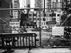 Danger - Keep Out (gahenty) Tags: blackandwhite bw signs monochrome constructionarea blackwhite streetphotography streetscene monotone melbournecbd