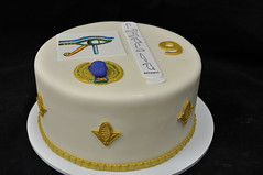 Egyptian birthday cake (jennywenny) Tags: birthday cake gold egypt horus scarab heiroglyphs