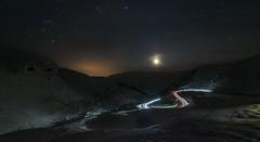 """S"" - D8D_7945 (Viggo Johansen) Tags: road longexposure trees sky moon snow mountains cars ice lights rocks driving hordaland haukelifjell e134"