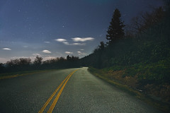 Lonely Moonlight (R. Keith Clontz) Tags: moonlight baretrees blueridgeparkway yellowlines winternight starrynight brp lonelyhighway starrysky moonlightreflection moonlitclouds rkeithclontz treesilhouetes