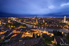 Verona (Andrea Morico) Tags: city blue italy panorama water night landscape nikon italia blu verona april bluehour aprile acqua paesaggio citta manfrotto notturno d610 orablu